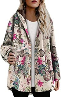 Opinionated Winter Hooded Coats for Women, Loose Cotton Warm Printed Pockets Thick Hasp Hoodie Jacket Coat Outwear