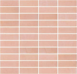 Susan Jablon Mosaics - 1x3 Inch Opaque Blush Pink Glass Subway Tile Reset In Stacked Layout