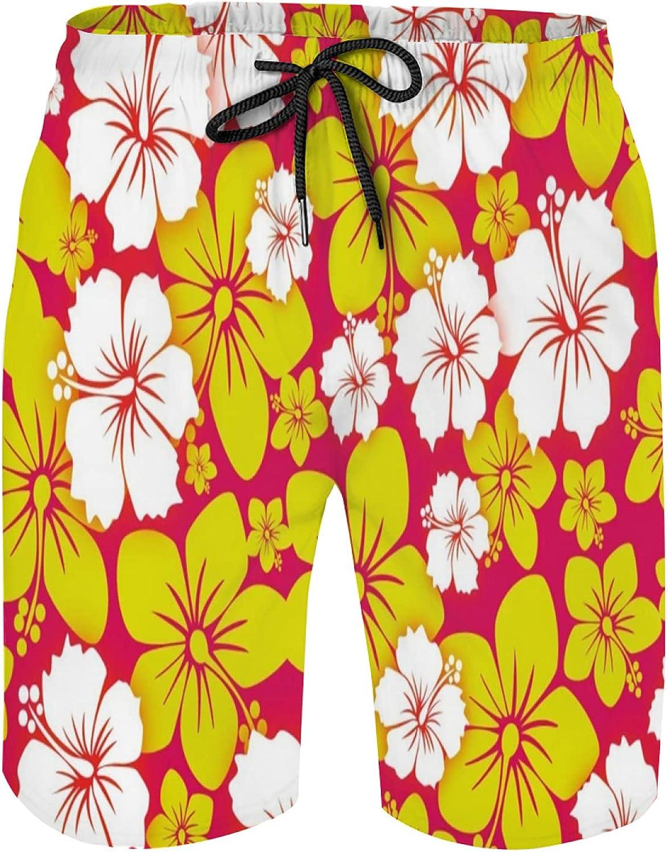 Hawaiian Mens Swim Trunks Quick Dry Board Shorts with Elastic Waist & Pockets, Beach Shorts Mesh Lining Bathing Suits