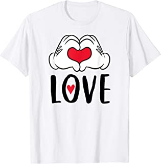 Mickey and Minnie Mouse Heart Hands Love T-Shirt