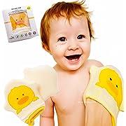 2 PCS US Pediatricians Approved Yellow Ducky Natural Bamboo Bath Sponge Body Scrub | Ducky Bath Mitt | Gentle Multi-use Scrub Massage, Quick-Dry, Environmental | Natural Exfoliation Fits All