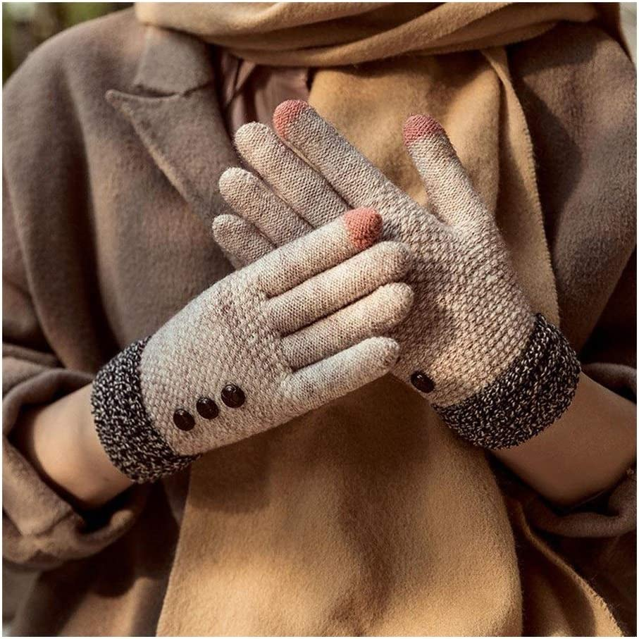 Lupovin-Keep Warm Plus Velvet Thickening Cycling Outdoor Full Finger Gloves Korean Version of Cold Winter Women's Touch Screen Knitted Gloves Stretch Warm Knitted Gloves Non-Slip (Color : Pink)