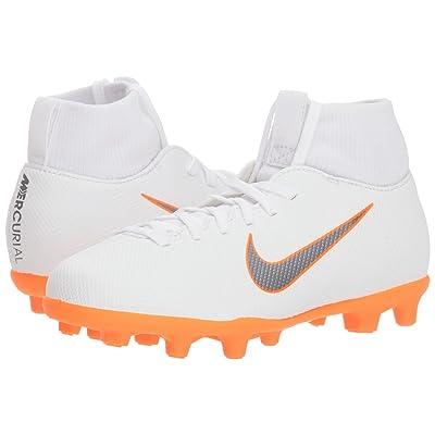 Nike Kids Superfly 6 Club MG Soccer (Little Kid/Big Kid) (White/Metallic Cool Grey/Total Orange) Kids Shoes