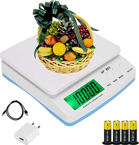 ENEM SF 803 30 KG Electronic Weight Machine for Kitchen with 6 Months Warranty Food Weight Scale for Home Kitchen Shop Small Portable Weighing Scale for Food Products White with Adapter