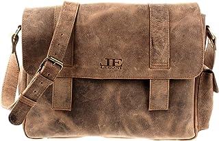 LECONI Schultasche Aktentasche Used Look DIN A4 Collegetasche für Damen & Herren Lehrertasche Messenger Bag Ledertasche aus Büffel-Leder 40x28x12cm LE3031