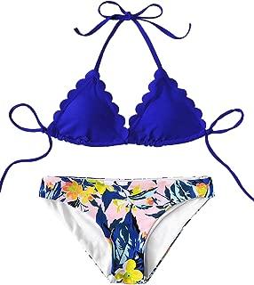 SweatyRocks Women's Sexy Bathing Suits Scallop Halter Bikini Top Floral Print Two Piece Swimsuits