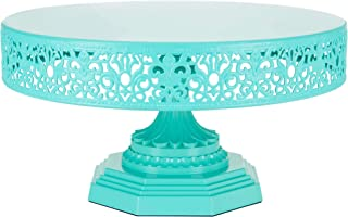 Amalfi Decor 12 Inch Cake Stand, Dessert Cupcake Pastry Candy Display Plate for Wedding Event Birthday Party, Round Metal Pedestal Holder, Teal