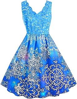 Womens Christmas Dress Sleeveless V-Neck Elegant Dress