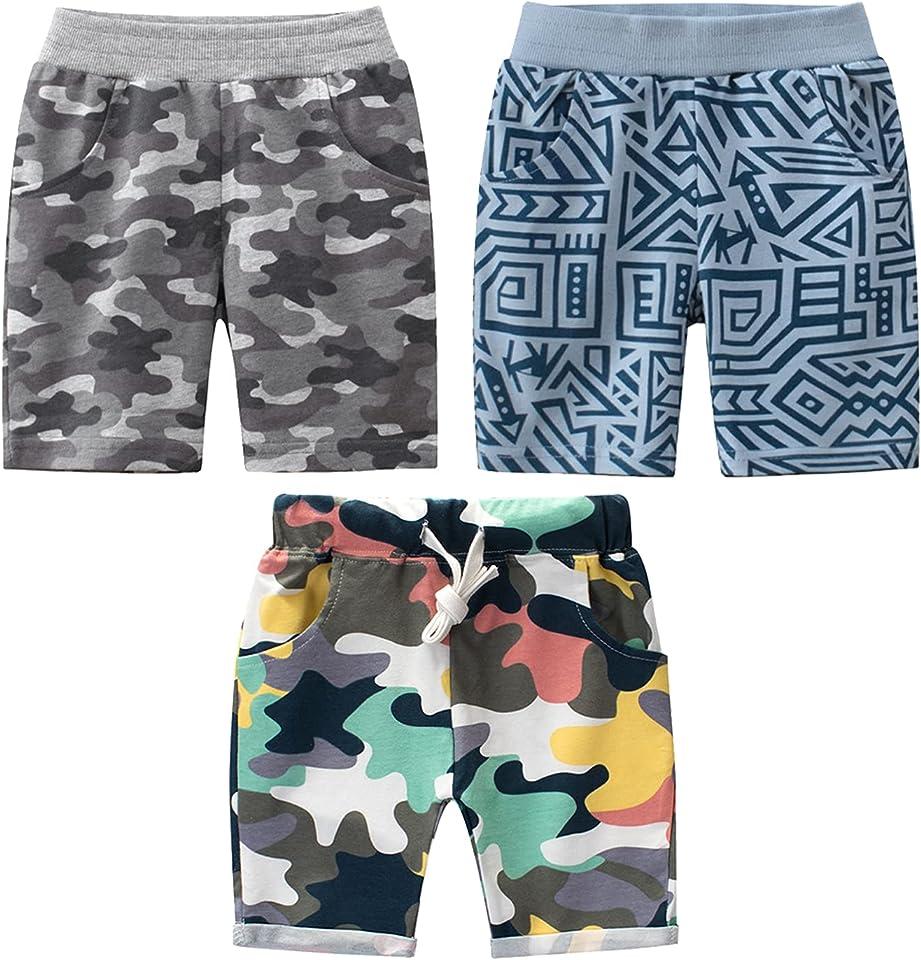 Jungen Shorts 2er Sommer Shorts Kinder Baumwolle Kurze Hosen Pull-on Freizeit Shorts 1-9 Jahre