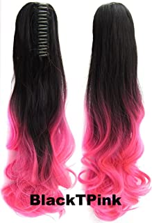 Beauty Wig World 21inch 55cm 100g Two Tone Long Wave Curly Woman Claw Clip Ponytail Clip on/in Hair Extensions -#Black to Pink by Beauty Wig World