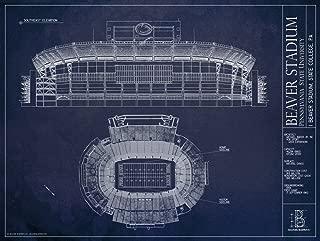 Beaver Stadium - Pennsylvania State University - Blueprint Style Print
