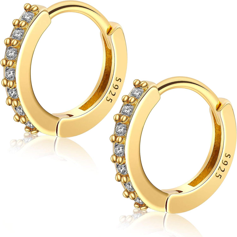 LUGUG Small Hoop Huggie 925 Sterling Silver Earrings for Women Men Girls,Cubic Zirconia Cartilage Hypoallergenic Hinged Stud Earrings,10mm Tiny Dainty Jewelry Gift