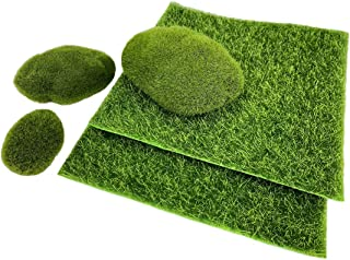 Artificial Garden Grass Moss Rocks - Fairy Fake Grass Lawn Faux Stones for Miniature Ornaments Garden Dollhouse Indoor Outdoor Home Décor