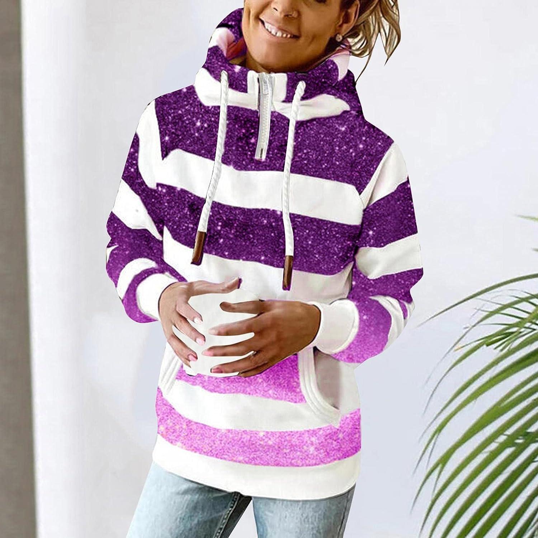 POLLYANNA KEONG Women's Hoodies,Womens Sweatshirt Hooded Long Sleeve Striped Sweater Cowl Neck Hoodie Sweatshirt Coat Hoodie