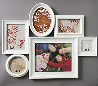 Lifestyle White Collage of 6 Picture Frames - 6 Photo Frame Wall Collage