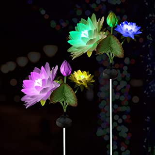 Outdoor Solar Powered Garden Stake Lights-2pc White Lotus Flowers set- Waterproof- Rechargeable AA batteries -LED Color Changing -Red,Blue,Green- Perfect for Outdoor Decoration,Yard, and, Patio- REIOL