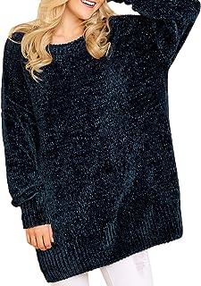 ZKESS Women Long Sleeve Round Neck Cozy Velvet Chunky Pullovers Sweater