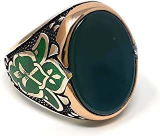 925K Sterling Silver Green Agate(Aqeeq Men's Enamelled Ring K62N Special Edition