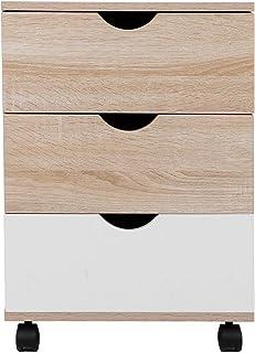 EBTOOLS Table de Chevet sur roulettes Table de Nuit avec 3 Tiroirs Bout de Canapé Armoire de Bureau Armoire de Chevet en M...