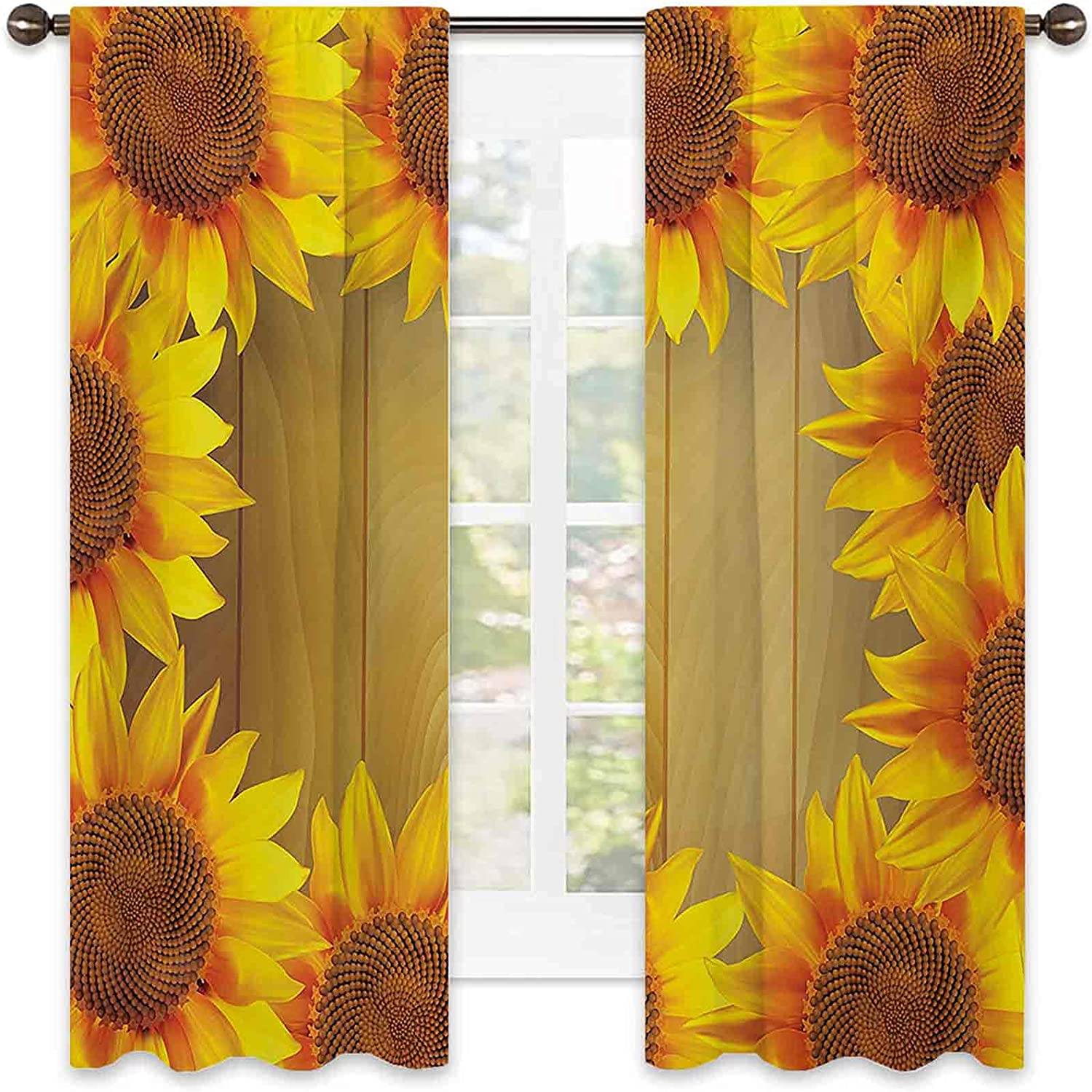 Sunflower Heat Insulation Curtain Circl Arranged Max 77% OFF in Popular product A