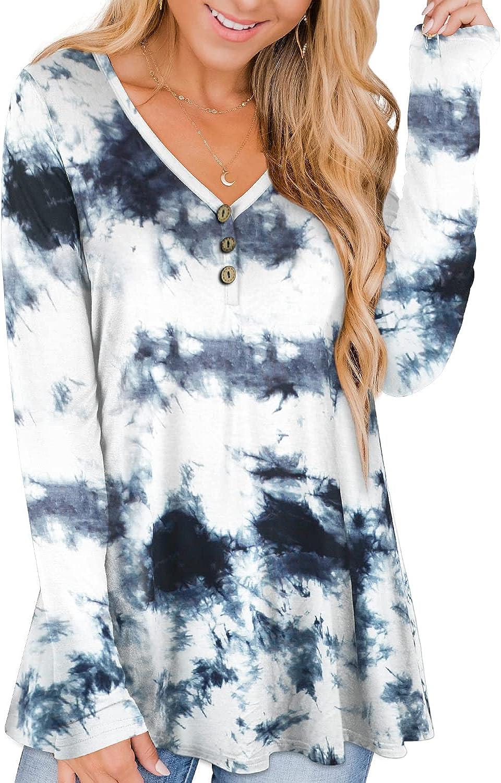 RANPHEE Womens Long Sleeve Henley T Shirts Fall Plus Size Tunic Tops