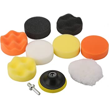 """Fontic 11pcs 3""""/80mm Compound Drill Buffing Sponge Pads Kit for Car Sanding, Polishing, Waxing, Sealing Glaze (9 Polishing Pads+1 Woolen Buffer+1 Thread Drill Adapter with Shank)"""
