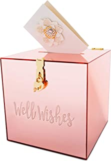 Baby Showers Pink Gift Card Box with Rose Gold Foil Design- Textured Finish Perfect for Weddings Large Size 10 x 10 Bridal Parties Graduation Hayley Cherie Birthdays Sweet 16