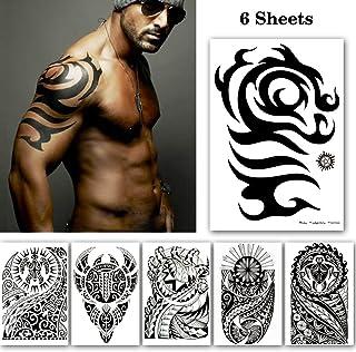 bfa7acef7ae09 Leoars 6 Sheets Black Large Temporary Tattoos Big Tribal Totem Tattoo  Sticker for Men Women Body