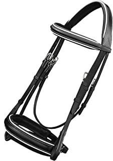ExionPro Comfort Lined White Piping Mono Crown Piece Raised Browband & Broad Detachable Flash Crank Noseband Dressage Horse Bridle with Leather Reins & Hand Stoppers | Dressage Bridles for Horses