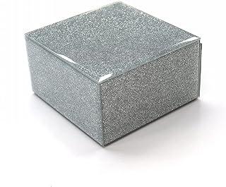مجموعة إكسسوارات المجوهرات المربعة من كيو إم ديكور، منظم تخزين مجموعة بسيطة تصميم زجاج مربع مجوهرات المواد في حافظات خزائن...