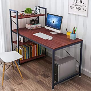 Tower Computer Desk with 4 Tier Shelves - 47.6'' Multi Level Writing Study Table with Bookshelves Modern Steel Frame Wood Desk Compact Home Office Workstation (Reddish Brown)