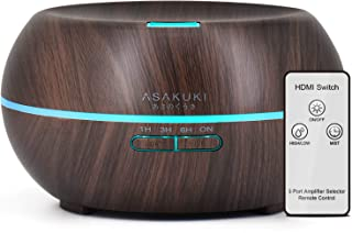 ASAKUKI Essential Oil Diffuser with Remote Control, 500ml Cool Mist Humidifier, Aromatherapy Diffuser with 16 Hours Operation Aroma Diffuser with Waterless Safety Switch