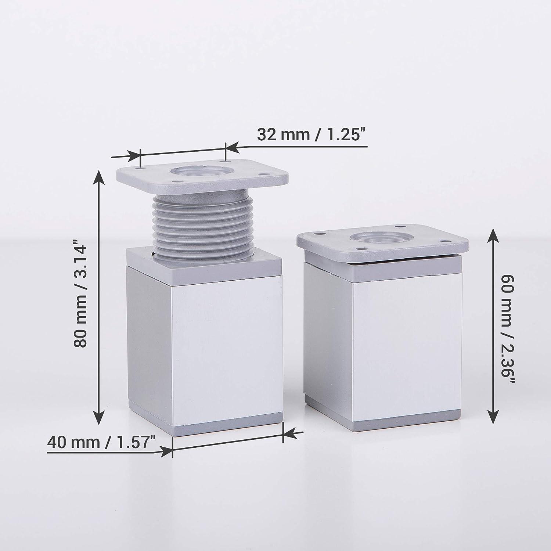 16, 10 cm de altura Aluminio Materiales: Pl/ástico Patas de muebles de altura ajustable Perfil angular: 40 x 40 mm Paquete de 16 piezas Tornillos incluidos