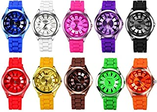 CdyBox Men Women Kids Silicone Band Assorted Jelly Color Watches (10 Packs)