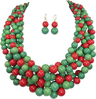 Braided Multi Strand Beaded Statement Necklace & Earrings Set
