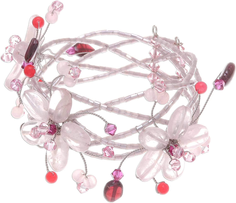 NOVICA Multi-Gem Rose Quartz Stainless Steel Cuff Bracelet, Pink Garland'