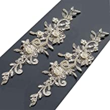 Bling Paillette Rhinestones Lace Appliques Pearl Beaded Bridal Applique Sewing Patch for DIY Wedding Belt Shoes Ivory (2 Pieces)