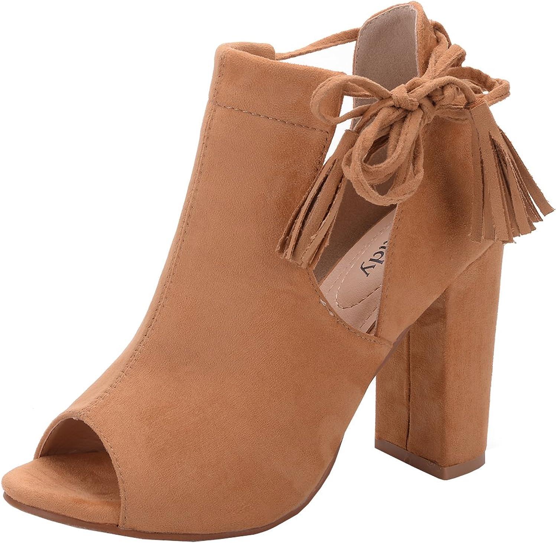 Mila Lady DOTOTHY Women's Stacked Chunky Heel Platform Tasseled Ankle Boot Peep Toe Bootie