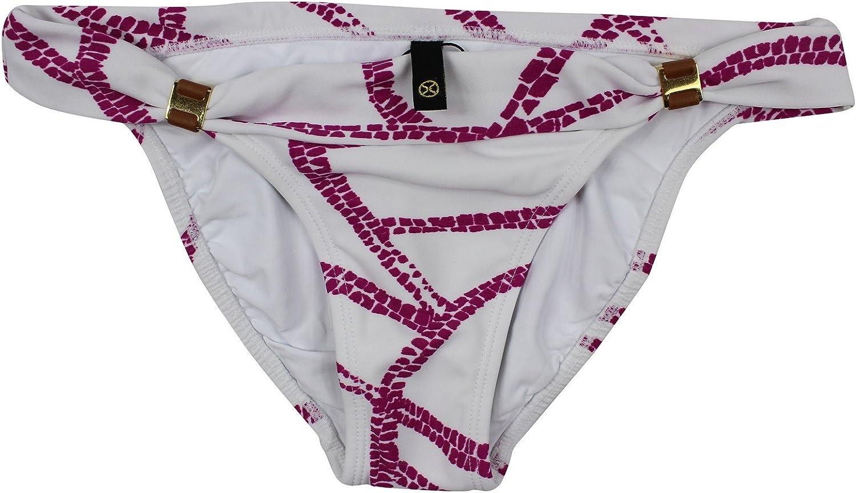 ViX Women's White Pink Fold Over Waist Full Rear Coverage Bikini Bottom