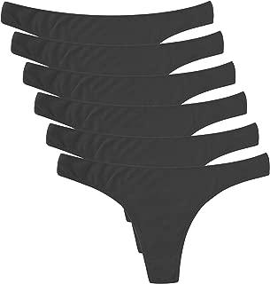 6 Pack Women's Thongs Cotton Breathable Panties Bikini Underwear