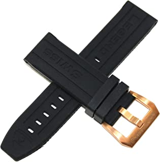 Swiss Legend 24MM Black Silicone Rubber Watch Strap w/Rose Gold Stainless Buckle fits 47mm Submersible