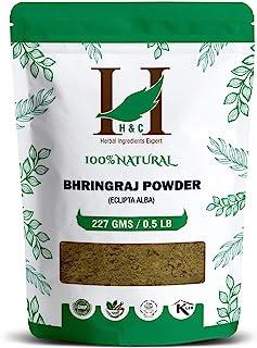 H&C- 100% Natural Bhringraj Powder for Hair (227g / 0.5 LB/ 08 oz) - Hair Growth Rejuvenator from Indian Ayurveda