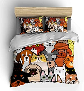Vichonne Dogs Lover Bedding Sets Full Size,3 Piece Cartoon Style Funny Characters Pets Duvet Cover Sets with Pillowcases for Teens Boys Girls Bedroom,No Comforter