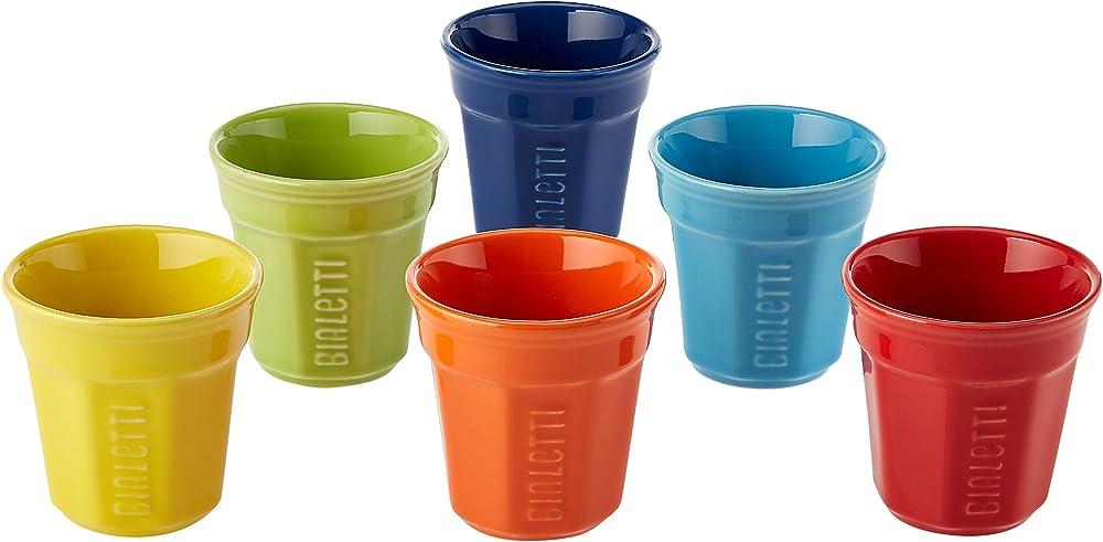 Bialetti, 6 bicchierini multicolor , in porcellana Y0TZ500