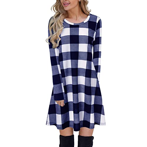 6c0891800 Blooming Jelly Ladies Plaid Dress Long Sleeve Swing Jumper Winter T Shirt Dresses  for Women