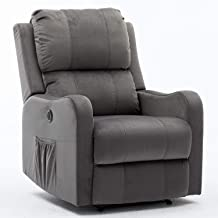 Bonzy Home Power Recliner Chair with Overstuffed Backrest - Velvet Fabric Electric Recliner Chair - Home Theater Seating - Bedroom & Living Room Chair Recliner Sofa (Gray)