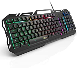 Gaming Keyboard, WisFox Colorful Rainbow LED Backlit USB Wired Keyboard, Ultra-Slim Quiet All-Metal Panel Computer Keyboard with Spill-Resistant Design for Desktop, Computer, PC Gamer