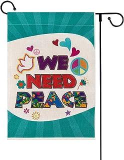 WaaHome We Need Peace Garden Flag 12x18 Double Sided Yard Flags Burlap Small Garden Flag Yard Outdoor Decor