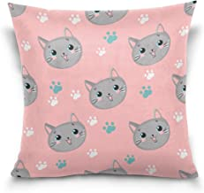 "MASSIKOA Cats Paws Footprints Pink Decorative Throw Pillow Case Square Cushion Cover 18"" x 18"" for Couch, Bed, Sofa or Pat..."