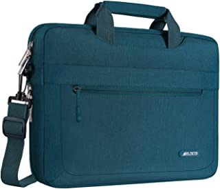 MOSISO Laptop Shoulder Bag Compatible with 15-15.6 inch MacBook Pro, Ultrabook Netbook with Adjustable Depth at Bottom, Polyester Messenger Briefcase Carrying Handbag Sleeve Case Cover, Deep Teal